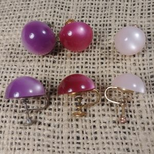 Jewelry - Set of Vintage Moonglow Lucite Screw Back Earrings